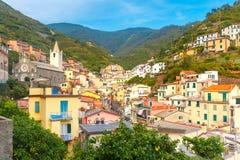 Panorama Riomaggiore, Cinque Terre, Liguria, Włochy obraz royalty free