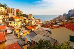 Panorama Riomaggiore, Cinque Terre, Liguria, Włochy zdjęcie royalty free