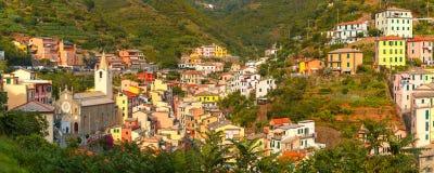 Panorama Riomaggiore, Cinque Terre, Liguria, Włochy obrazy stock