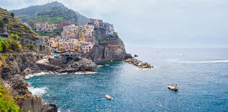 Panorama of Riomaggiore village in Italy Royalty Free Stock Image