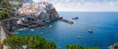 Panorama of Riomaggiore village in Italy Stock Photos