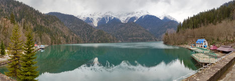 Panorama of Ritsa lake, Abkhazia. Early spring panorama of Ritsa lake, Abkhazia Royalty Free Stock Photo