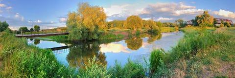 Panorama river. Summer nature panorama river beautiful water landscape Royalty Free Stock Image