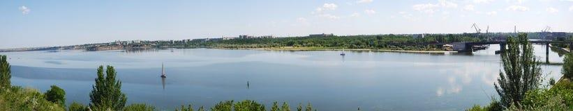 Panorama of river stock image
