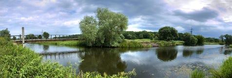Panorama river. Summer panorama river beautiful landscape Royalty Free Stock Image