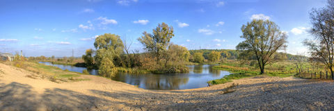 Panorama river. Summer panorama river beautiful landscape Stock Images