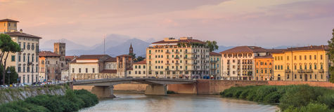 Panorama of the river Arno in Pisa Stock Images