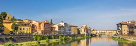 Panorama of river Arno and ponte Vecchio in Florence. Italy Royalty Free Stock Images