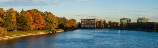 Panorama of river and autumnal park Royalty Free Stock Photos