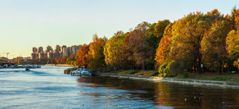 Panorama of river and autumnal park Royalty Free Stock Photography