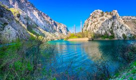 Panorama of River Cetina, Croatia. Panorama od River Cetina in Dalmatia region near town Omis, popular sightseeing spot stock photos