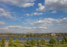 Panorama of the river and city Donetsk Stock Photography