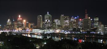 Panorama - River City @ Night. A great view south of Brisbane at night. www.cjsphotomagic.com Digital Photography Online Course Stock Photo