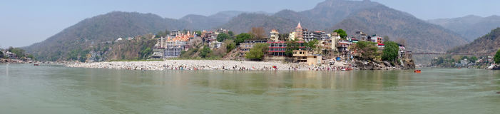 Panorama from the river Ganga near Laxman Jhula in India Stock Photography