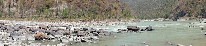 Panorama from the river Ganges in India near Phoolchatti Stock Photography