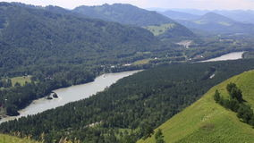 Panorama the river Katun from Mount Bloody Finger. Altai Krai. Royalty Free Stock Image