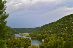 Panorama on the river Krka and singhtseeing boats the national Park Krka, Croatia stock photos
