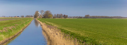 Panorama of a river leading to a windmill in Groningen Royalty Free Stock Image