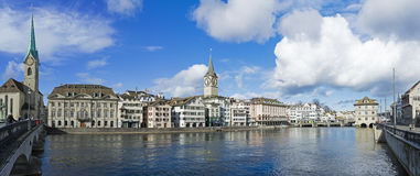 Panorama river Limmat Zurich Royalty Free Stock Photo