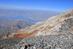 Panorama of the river in the mountains of Tien Shan Royalty Free Stock Photography