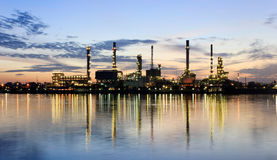 Panorama River and oil refinery factory Stock Image