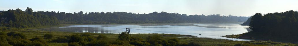 Panorama of the river Oredezh Stock Photography