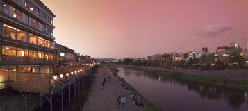Panorama of river Pontocho in Kyoto. royalty free stock photography