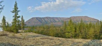 Panorama. The river on the Putorana plateau. Royalty Free Stock Photos