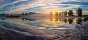 Panorama of River Reflection Stock Photography