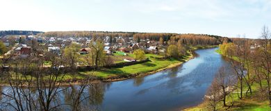 Panorama the river Ruza Royalty Free Stock Images