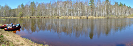 Panorama of the river in springtime. Stock Photos