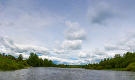 Panorama of the river on a summer day. Royalty Free Stock Image