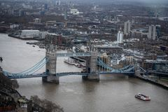 Panorama of Thames with Tower Bridge. A panorama of river Thames with Tower Bridge in London stock photo