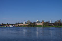 Panorama of River Volkhov and Kremlin, Veliky Novgorod Royalty Free Stock Photos