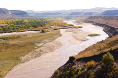 Panorama of river Xilamulun valley Royalty Free Stock Photo