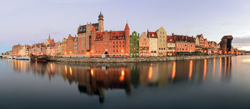 Panorama of riverside with the characteristic promenade of Gdansk Royalty Free Stock Images