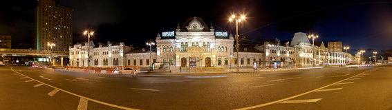 Panorama of the Rizhsky railway station (Rizhsky vokzal, Riga station) is one of the nine main railway stations in Moscow, Russia Royalty Free Stock Photo