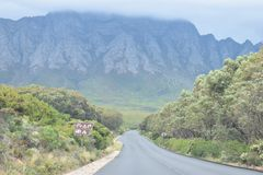 Panorama road with beautiful high mountains from Cape Town to Hermanus, South Africa Stock Images
