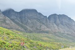 Panorama road with beautiful high mountains from Cape Town to Hermanus, South Africa Stock Image