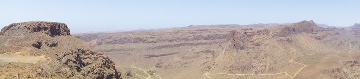Panorama Road Canarian mountain , Spain Royalty Free Stock Image