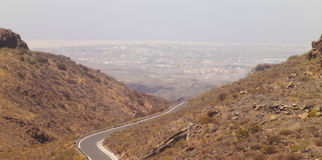 Panorama Road Canarian mountain , Spain Stock Photography