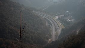 Panorama road HD. Panorama road, cars drive on the road, top view stock video