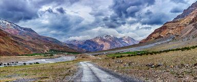Panorama of road in Himalayas Royalty Free Stock Photography