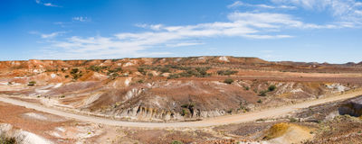 Panorama of Road through Painted Desert, Australia. Panorama of Road through Painted Desert, Arkaringa Hills, Australia Royalty Free Stock Photo