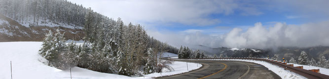Panorama of a road with snow Royalty Free Stock Images