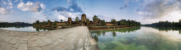 Panorama with road to Angkor Watg time Royalty Free Stock Images