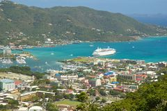 Panorama of Roadtown in Tortola, Caribbean. Road town and a cruise ship in Tortola, British Virgin island, Caribbean Stock Photography