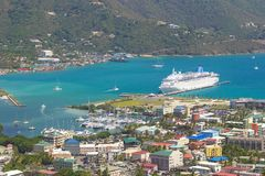 Panorama of Roadtown in Tortola, Caribbean. Road town and a cruise ship in Tortola, British Virgin island, Caribbean Royalty Free Stock Images