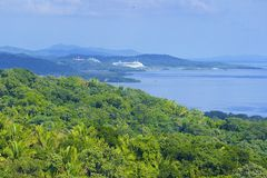 Panorama of Roatan, Honduras. Cruise ship in Mahogany Bay in Roatan, Honduras stock images