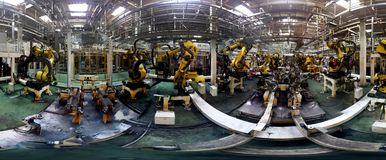 Panorama of robotic welding station Stock Photos